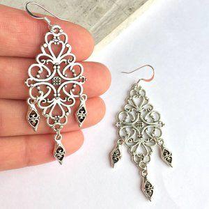 Thai Silver filigree Chandelier Earrings